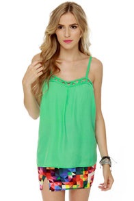 Candy Cage Mint Green Tank Top at Lulus.com!