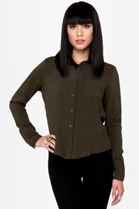 Cute As a Button-Up Backless Olive Green Top at Lulus.com!