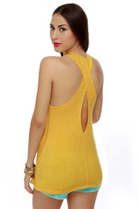 Pocket Aces Yellow Tank Top at Lulus.com!