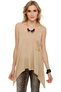 Baker Girl Beige Tank Top at Lulus.com!