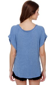 Shoulder Stay or Shoulder Go Blue Top