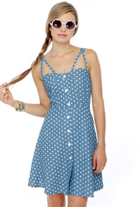 Judy Blue Eyes Chambray Polka Dot Dress