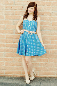 Judy Blue Eyes Chambray Polka Dot Dress at Lulus.com!