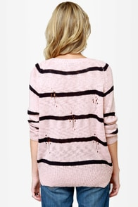 Cuddled Up Pink Striped Sweater at Lulus.com!