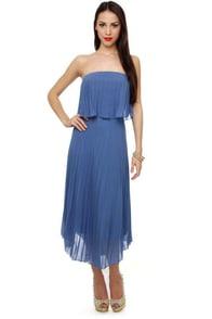 De-Pleat the Supply Strapless Blue Dress