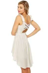 French Chateau Sleeveless White Dress