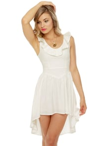 French Chateau Sleeveless White Dress