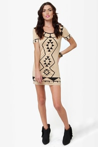 The Shape I'm In Beige Print Dress