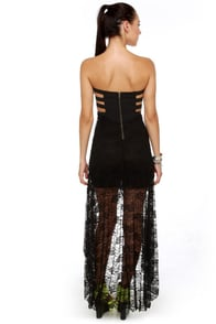Inescapable Lace Strapless Black Dress at Lulus.com!