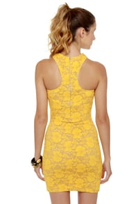 One Rad Girl Lauren Yellow Lace Dress