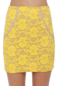One Rad Girl Brooke Yellow Lace Mini Skirt at Lulus.com!