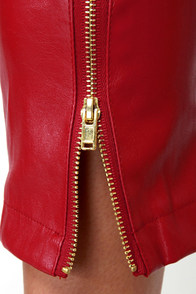 Pretty Slick Red Vegan Leather Skinny Pants at Lulus.com!