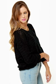Olive & Oak Knit-re Dame Black Sweater at Lulus.com!