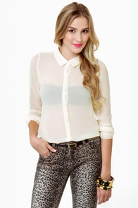 Olive & Oak Sonny and Sheer Cream Top at Lulus.com!