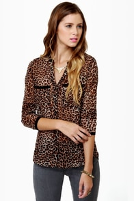 Olive & Oak One Feline Day Sheer Leopard Print Top