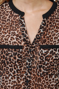 Olive & Oak One Feline Day Sheer Leopard Print Top at Lulus.com!