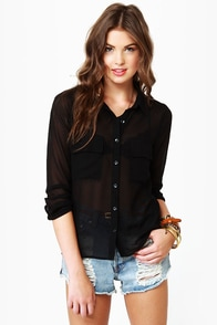 Olive & Oak Pop Princess Black Top at Lulus.com!