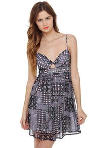 O\\\'Neill Neon Rainbow Black Print Dress