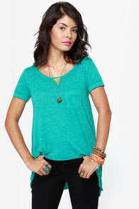 O'Neill Goodwill High-Low Turquoise Top at Lulus.com!