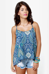 O'Neill Love Struck Blue Paisley Print Tank Top at Lulus.com!