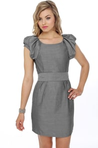 Got the Right Puff Grey Dress