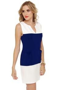 Tailor Shift Blue and White Shift Dress at Lulus.com!
