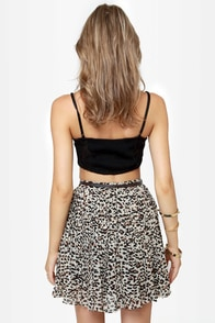 Obey Sunset II Animal Print Pleated Skirt