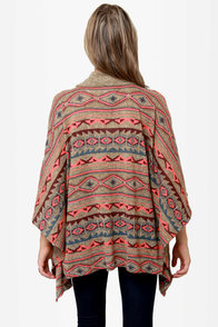 Obey Drifter Southwest Print Poncho Sweater at Lulus.com!