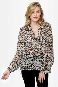 Obey Day Dreamer Sheer Animal Print Top at Lulus.com!