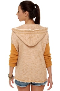 RVCA Stand Up Heathered Tan Hoodie at Lulus.com!