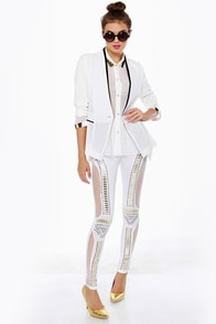 Did I Stud-her? Studded White Leggings