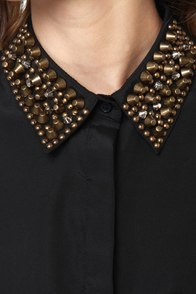 Mag-neato Black Button-Up Studded Top at Lulus.com!