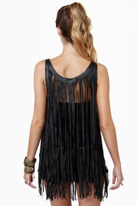 Counterculture Black Fringe Top
