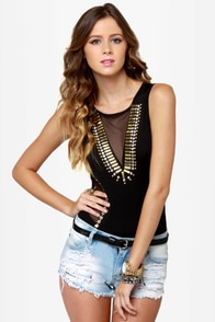 Stud-y Abroad Studded Black Bodysuit at Lulus.com!