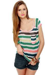 Roxy Cliff Rock Sheer Striped Top