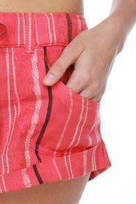 Roxy Nomad Stripe Coral Pink Shorts