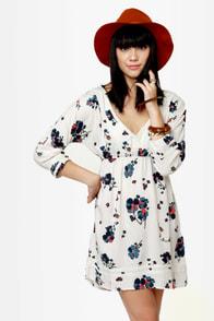 Roxy For Love Beige Floral Print Dress
