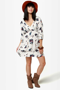 Roxy For Love Beige Floral Print Dress at Lulus.com!
