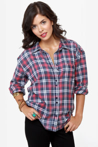 Roxy Faded Journey Flannel Top at Lulus.com!