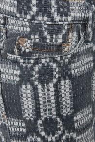 Roxy Skinny Slides Grey Print Skinny Jeans