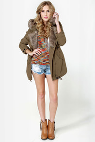 Parka Avenue Army Green Coat at Lulus.com!