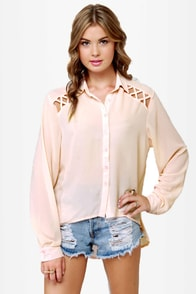 Sooner or Lattice Pink Button-Up Top at Lulus.com!