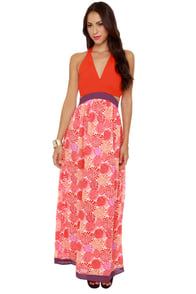 Burst Dressed Print Maxi Dress