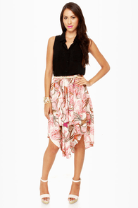 Birds in Paradise Bird Print Midi Skirt
