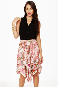 Birds in Paradise Bird Print Midi Skirt at Lulus.com!