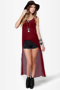 Smooth Move Sheer High-Low Wine Red Top at Lulus.com!
