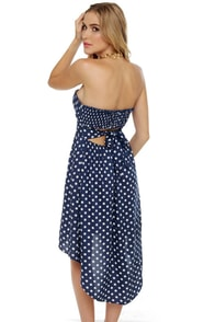 Sea 'n' Dots Navy Blue Polka Dot Dress at Lulus.com!