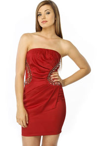Lights Camera Passion Strapless Red Dress
