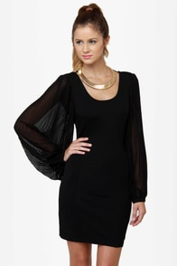 Up My Sleeves Black Dress