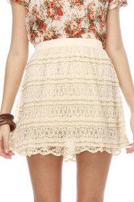 Cr�me Br�l�e Ivory Lace Skirt